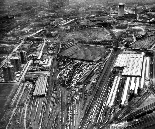 An aerial view of the site from the 1960s