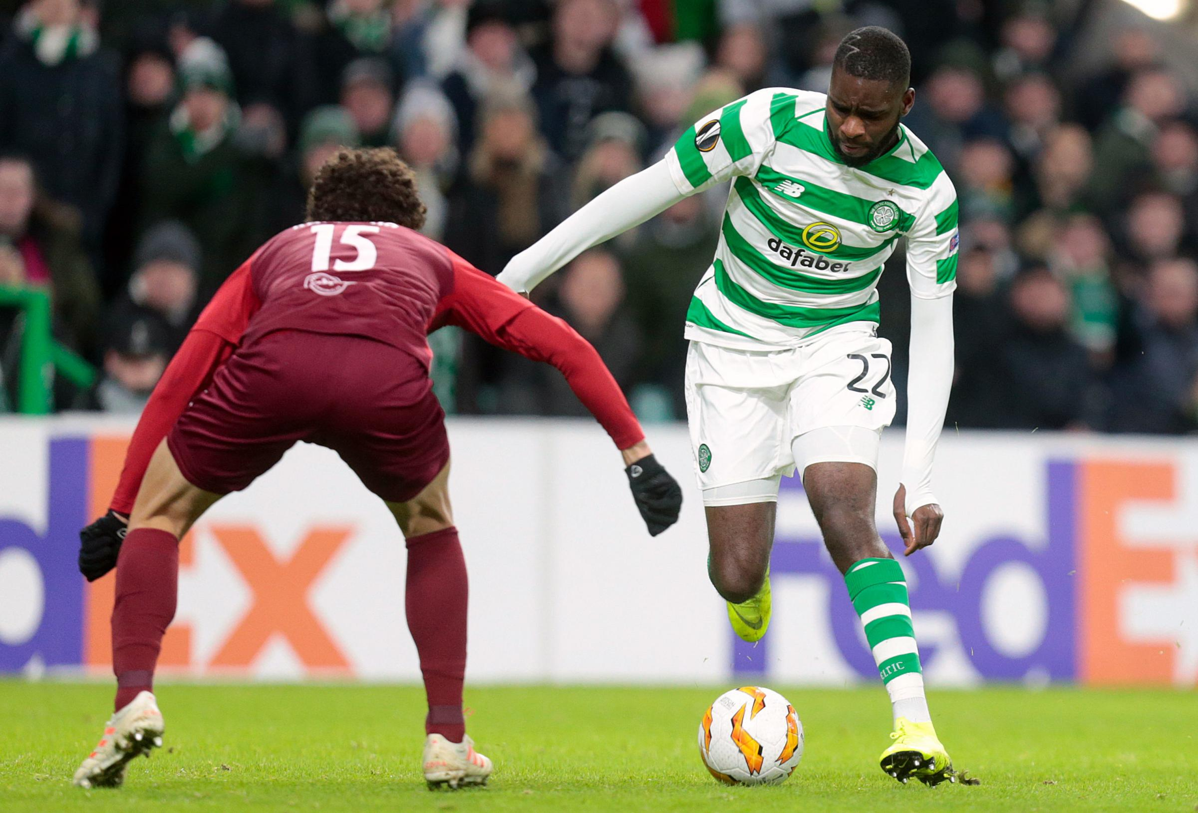 Salzburg's Andre Ramalho (left) and Celtic's Odsonne Edouard battle for the ball during the UEFA Europa League, Group B match at Celtic Park, Glasgow. PRESS ASSOCIATION Photo. Picture date: Thursday December 13, 2018. See PA story SOCCER Celtic.