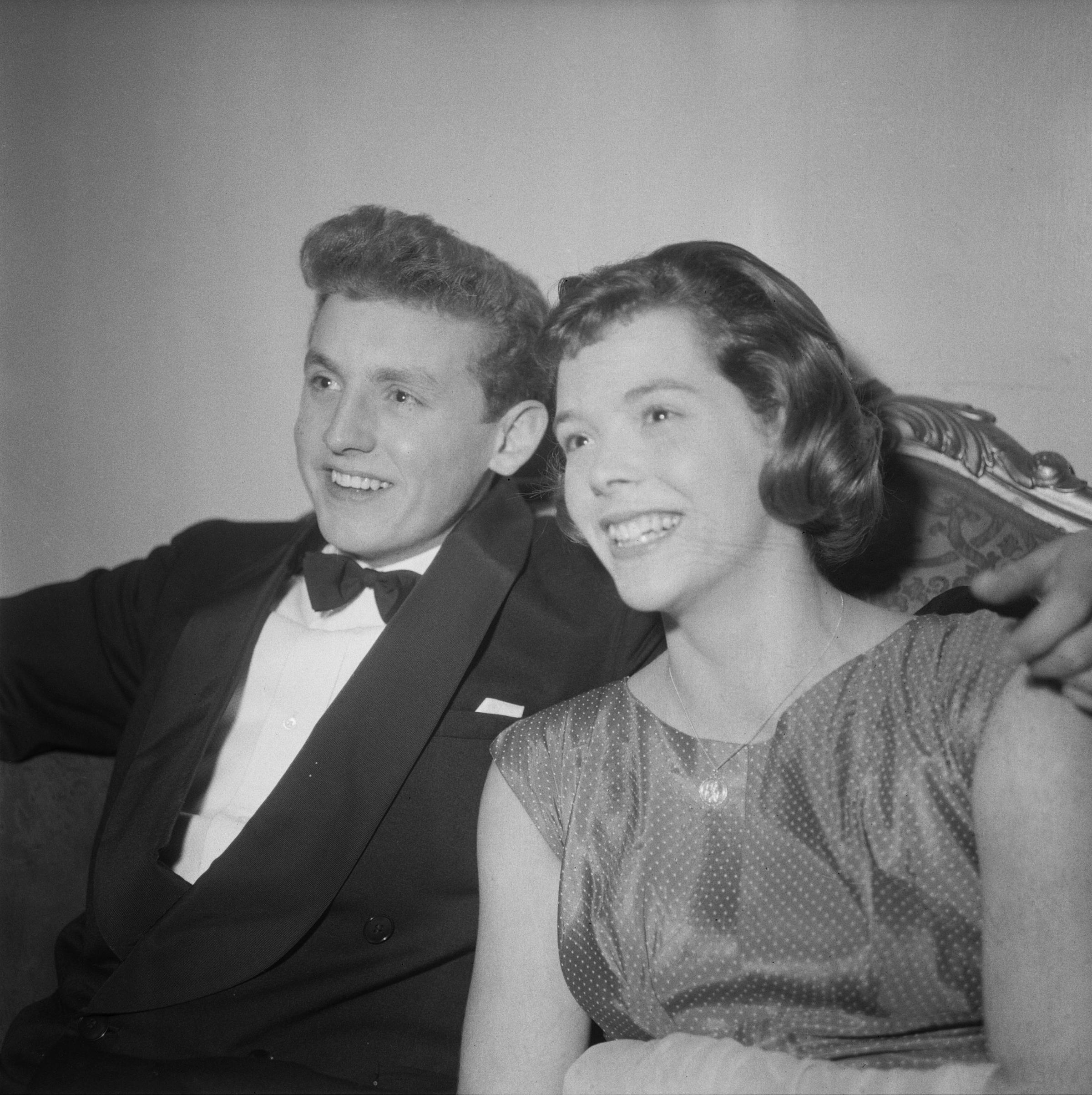 Scottish swimmer Ian Black with British Olympic swimmer Judy Grinham at the BBC Sports Personality of the Year presentations in Park Lane, London in 1958