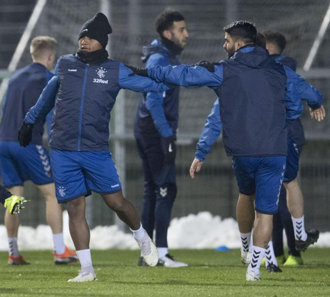 12/12/18.RANGERS TRAINING.VIENNA - AUSTRIA.Rangers striker Alfredo Morelos (left) and Daniel Candeias.