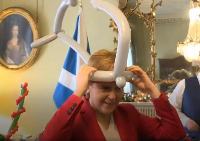 Fishy: Nicola Sturgeon dances the 'Baby Shark'