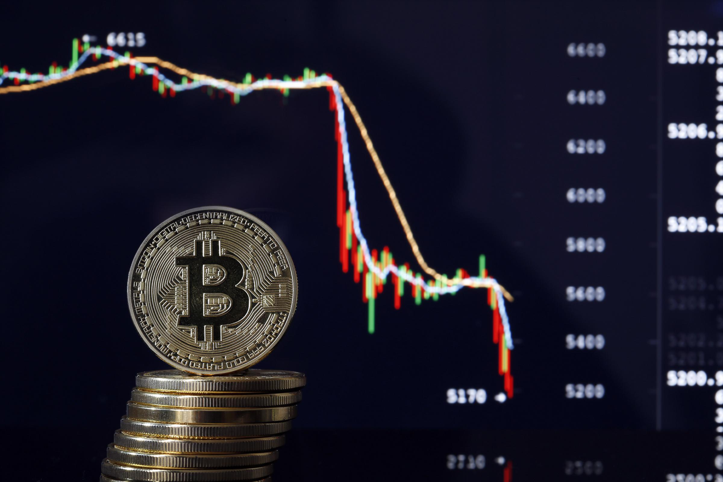 PARIS, ILE DE FRANCE - NOVEMBER 20:  In this photo illustration, a visual representation of the digital Cryptocurrency, Bitcoin is displayed in front of the Bitcoin course's graph of Bitfinex cryptocurrency exchange website on November 20, 2018 in Par
