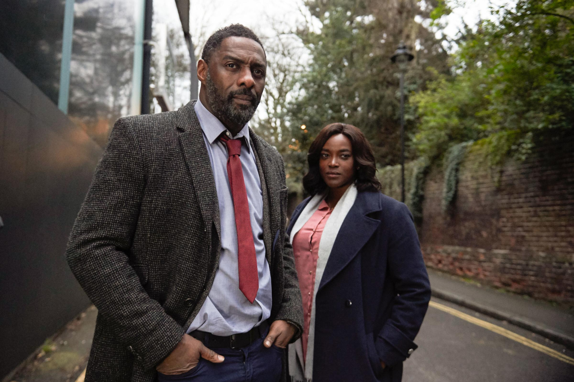 Idris Elba as DCI John Luther and Wunmi Mosaku as DS Halliday in the BBC drama Luther. Photograph: PA Photo/BBC/Des Willie