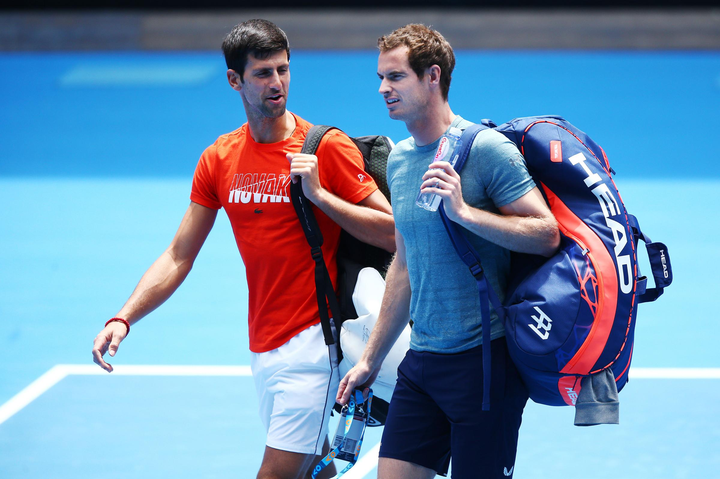 ***BESTPIX*** MELBOURNE, AUSTRALIA - JANUARY 10: Novak Djokovic of Serbia talks with Andy Murray of Great Britain before their practice match ahead of the 2019 Australian Open at Melbourne Park on January 10, 2019 in Melbourne, Australia. (Photo by Michae