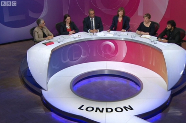 Fiona Bruce hosts Question Time. Picture: BBC/PA.