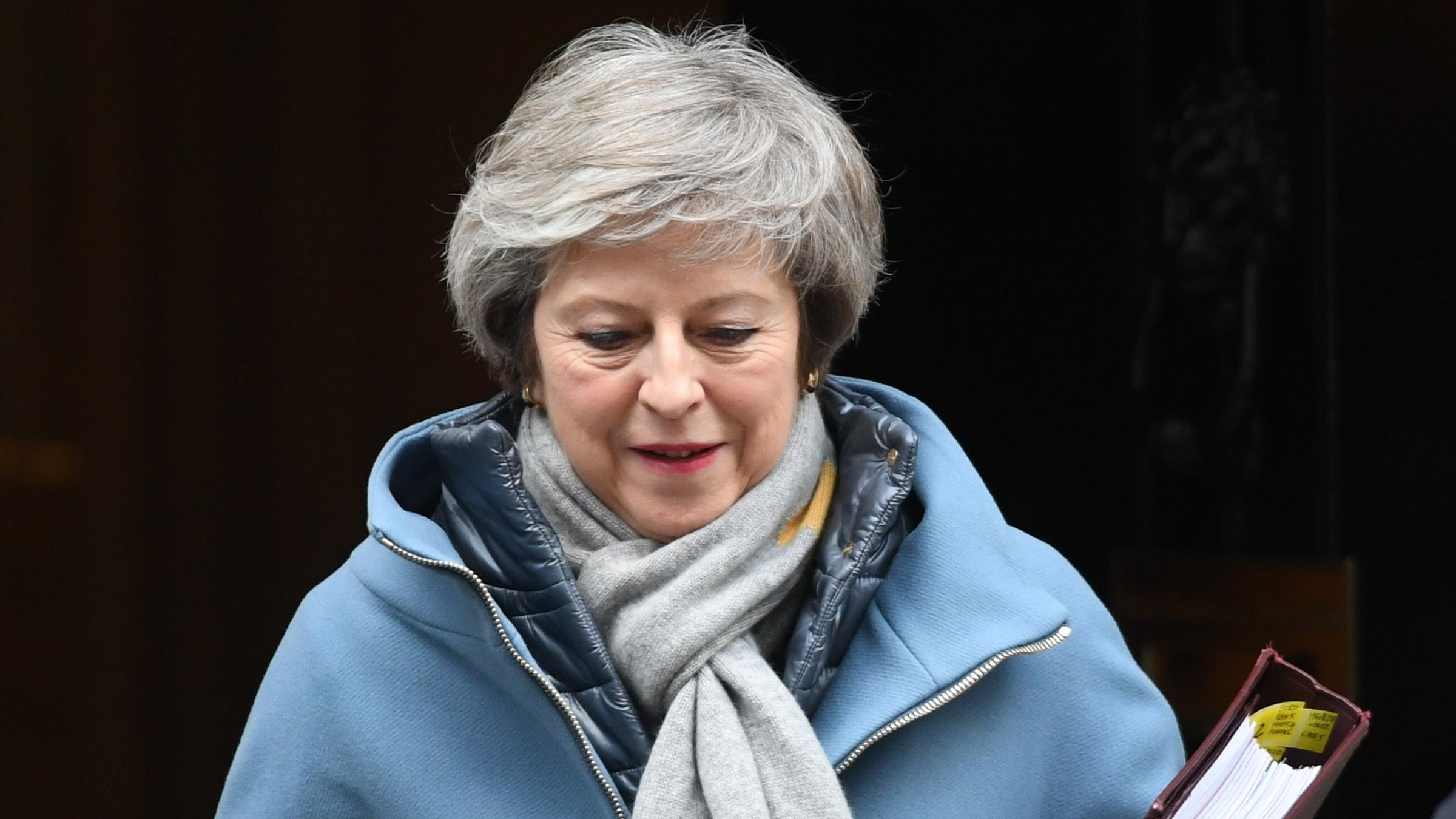 Embattled: May will spend weekend talking to union and business leaders but numbers for her Brexit Plan look bad