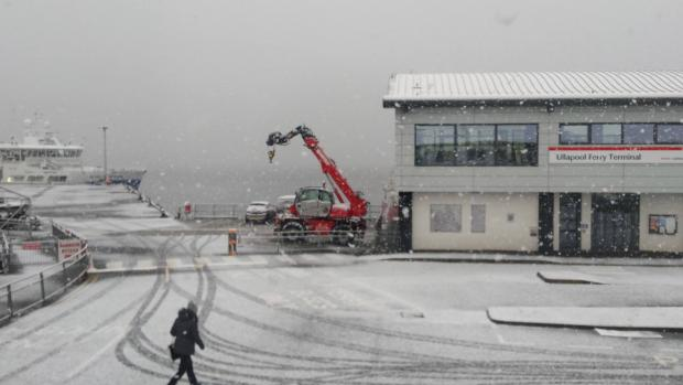 HeraldScotland: Ullapool Ferry Terminal covered in snow
