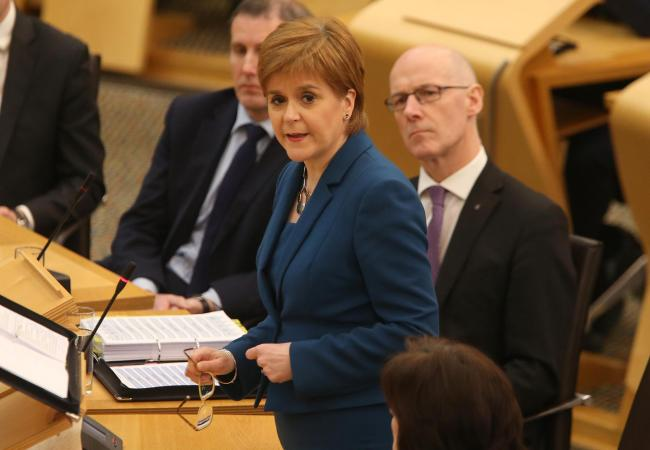Nicola Sturgeon at First Minister's Questions yesterday