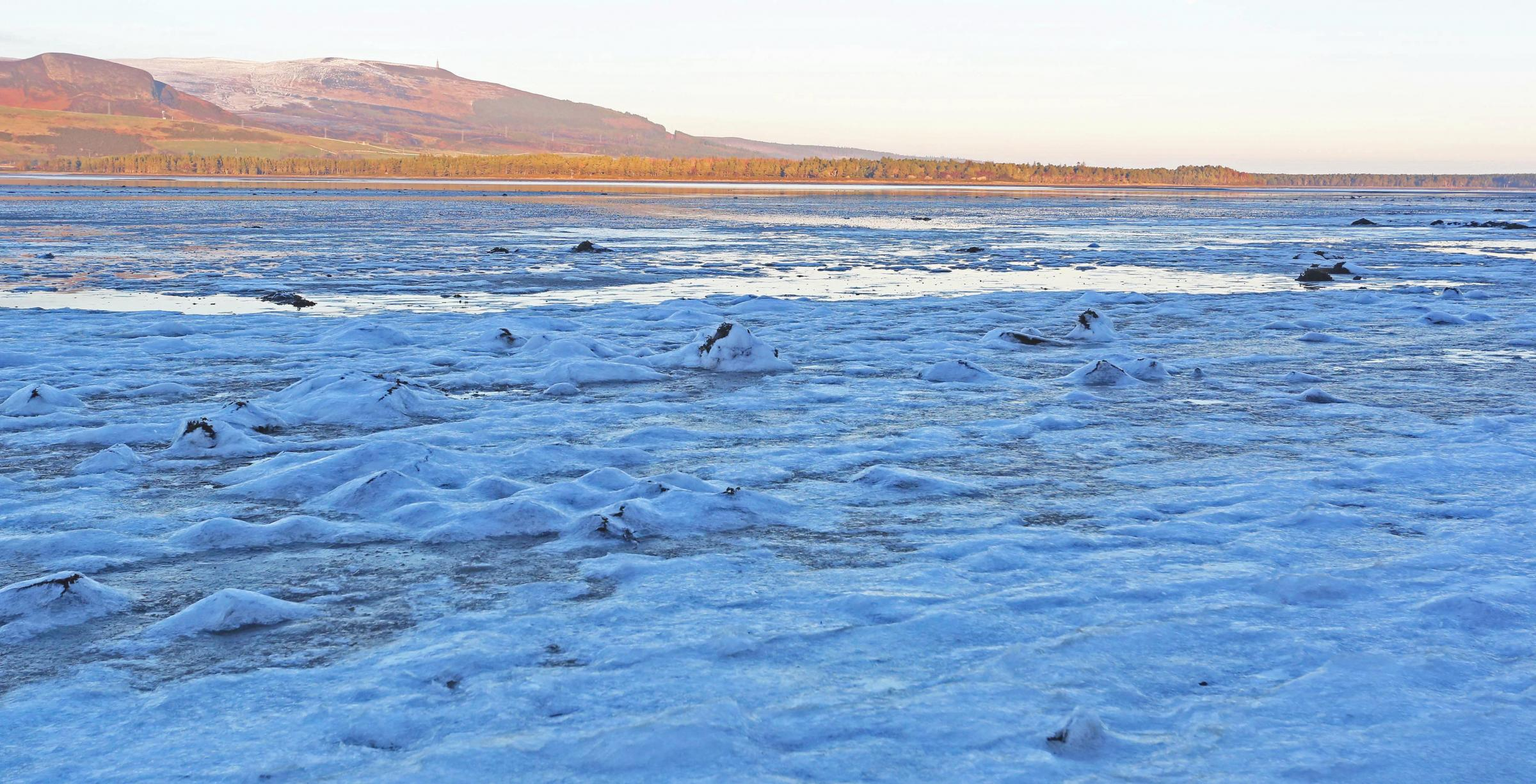 Highland loch freezes over as temperatures drop to -8 degrees