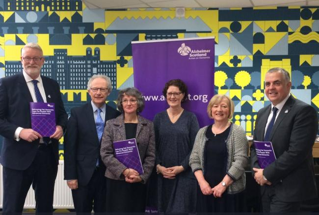Former First Minister Henry McLeish (second from left) launches report alongside Elaine Deehan (fourth from left) and Henry Simmons (first on right) of Alzheimer's Scotland