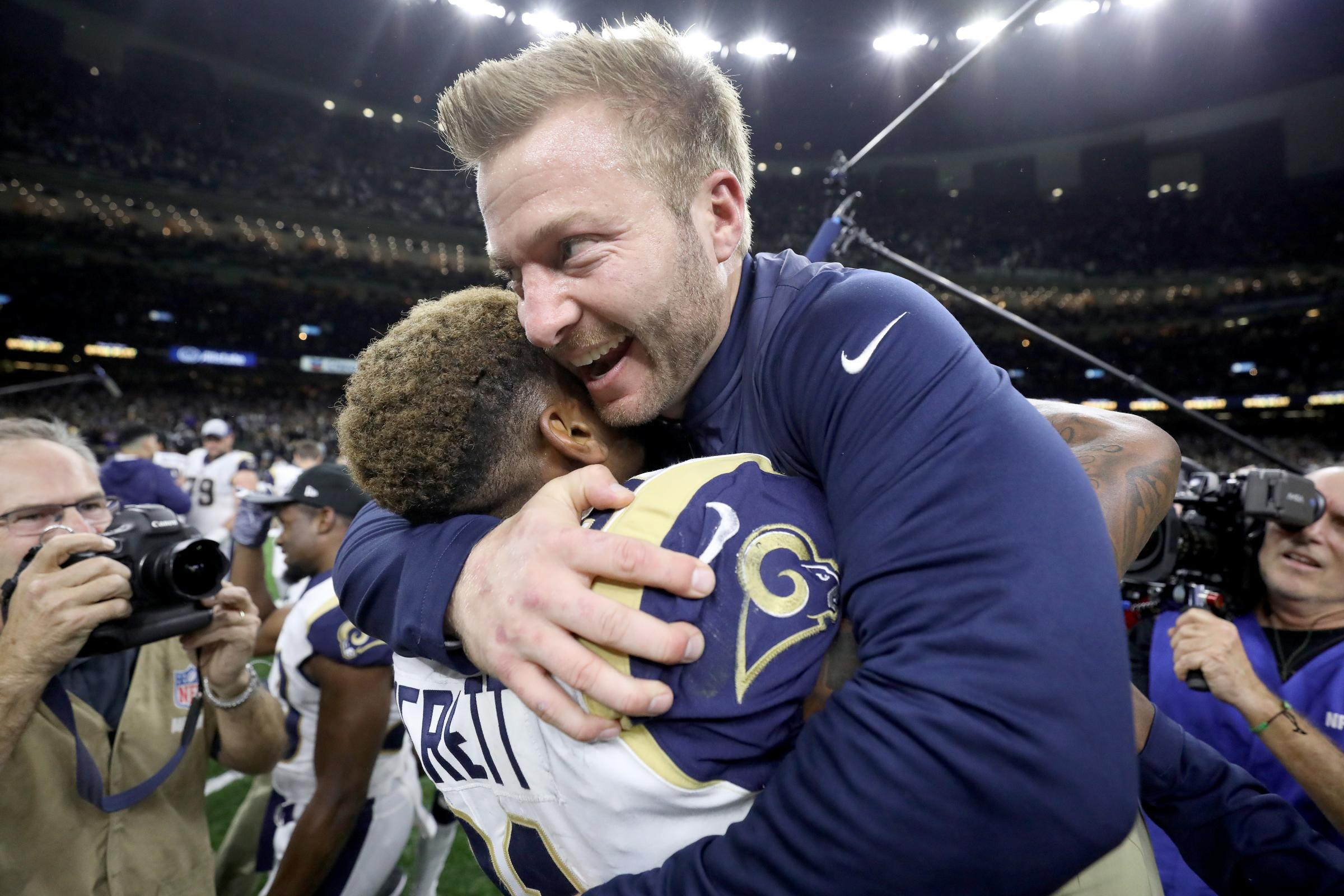 NEW ORLEANS, LOUISIANA - JANUARY 20: Head coach Sean McVay of the Los Angeles Rams celebrates Gerald Everett #81 after defeating the New Orleans Saints in the NFC Championship game at the Mercedes-Benz Superdome on January 20, 2019 in New Orleans, Louisia