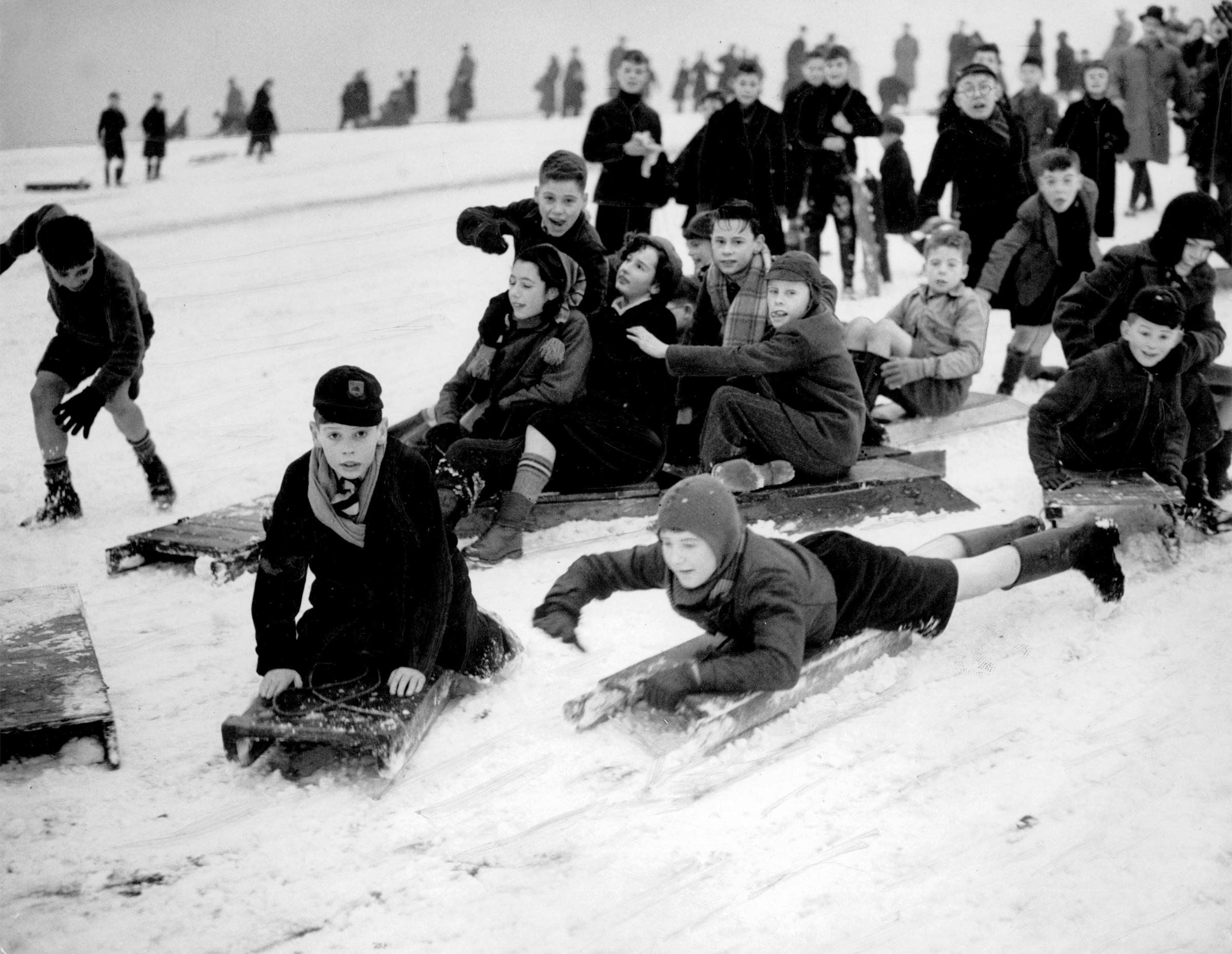 School children sledging in Queens Park, Glasgow, 1952