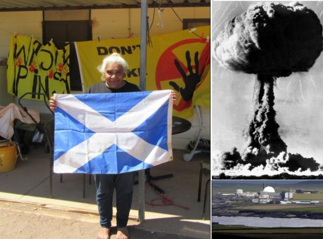 (Left) Regina McKenzie. (Top) The atomic testing range at Maralinga in 1956. (Bottom) Dounreay, which is at the centre of the substitution policy