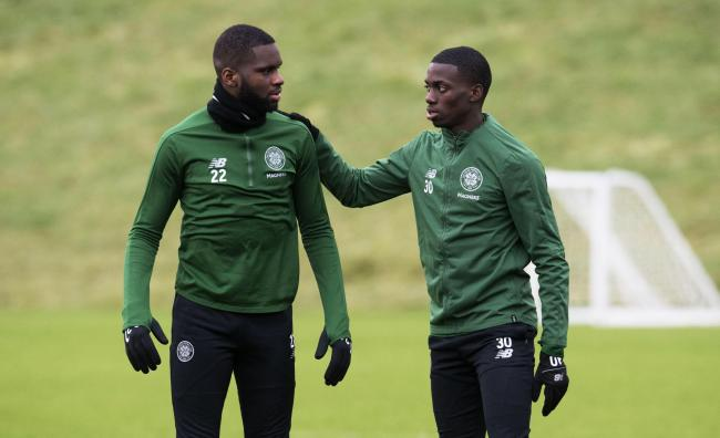 21/01/19.CELTIC TRAINING.LENNOXTOWN.Celtic Forwards Odsonne Edouard (left) and Timothy Weah..