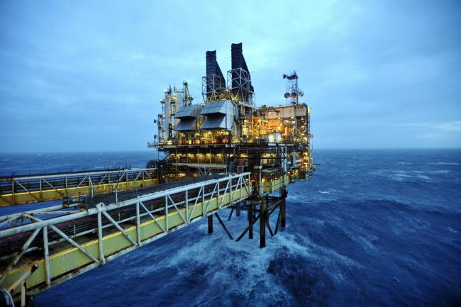 AT SEA - FEBRUARY 24: A general view of the BP ETAP (Eastern Trough Area Project) oil platform in the North Sea on February 24, 2014, around 100 miles east of Aberdeen, Scotland. The British cabinet will meet in Scotland for only the third time in history
