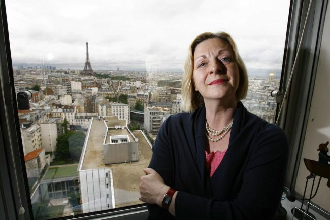 Linda Fabiani on the 15th floor of the UNESCO building in Paris looking over the bid..