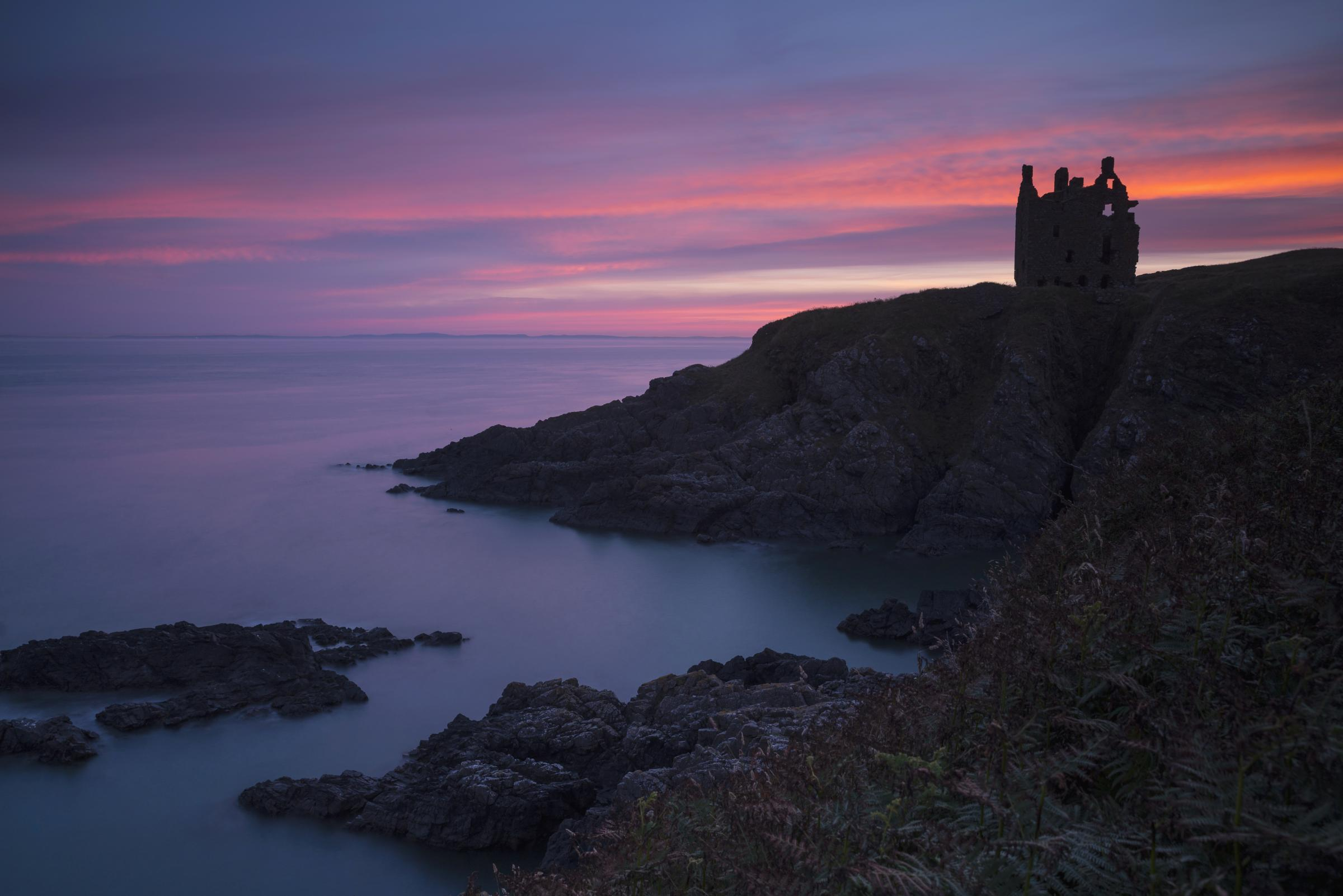 Dunskey Castle, perched on a rocky cliff above Portpatrick was built in the mid-16th century.