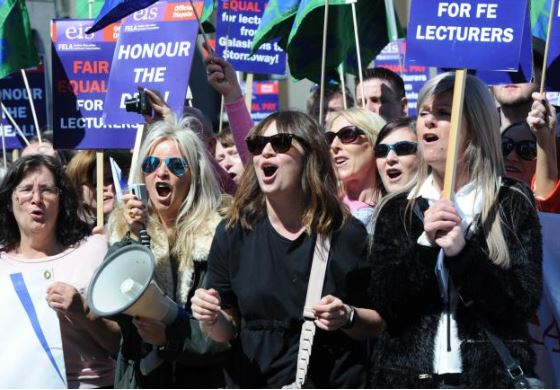 College lecturers strike for a second day across Scotland