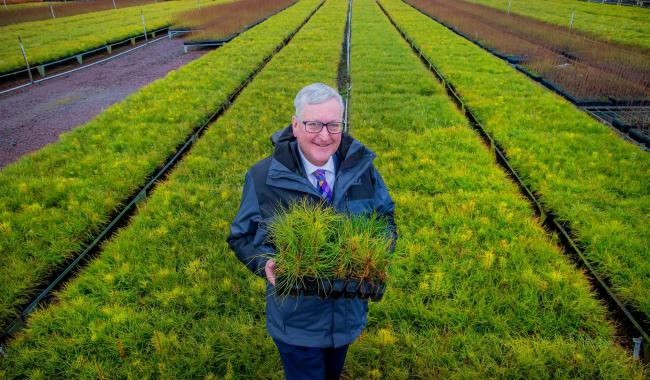 Rural Economy Secretary Fergus Ewing at Alba Trees nursery in East Lothian where forests and woodlands begin.