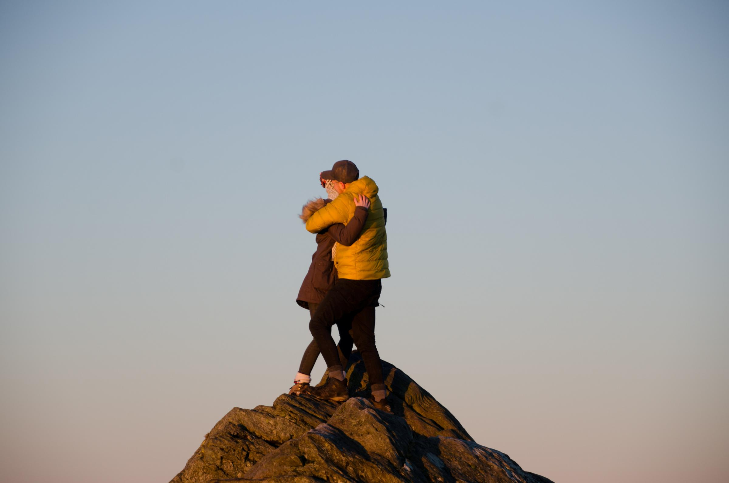 A romantic couple on top of Ben A'an in the Trossachs