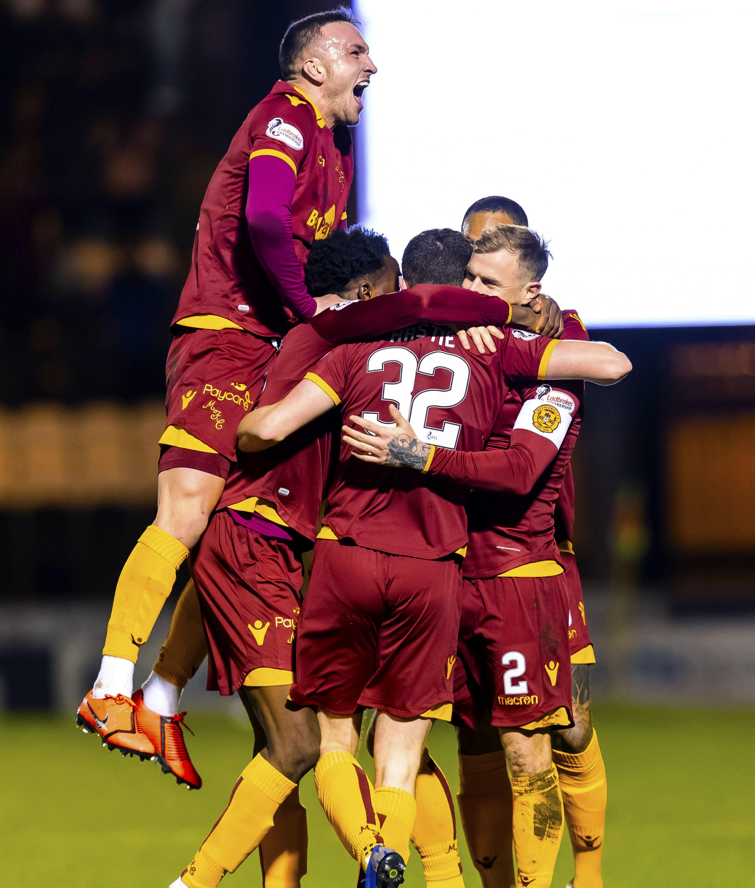 06/02/19 LADBROKES PREMIERSHIP.ST MIRREN v MOTHERWELL.THE SIMPLE DIGITAL ARENA - PAISLEY.The Motherwell players surround Jake Hastie after his opening goal..