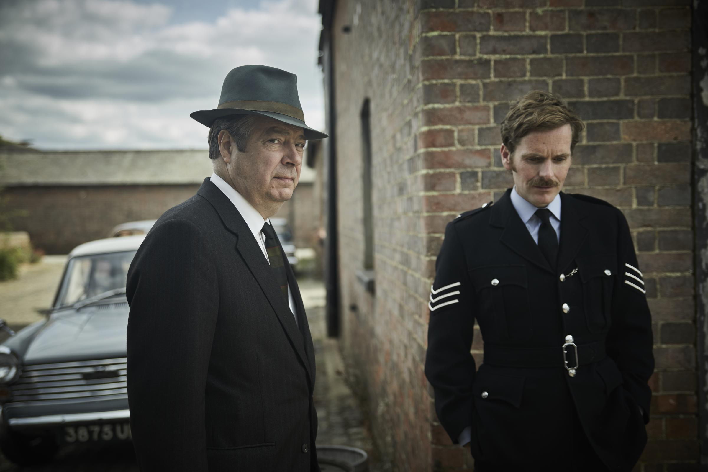 SHAUN EVANS as Endeavour and ROGER ALLAM as DI Fred Thursday.