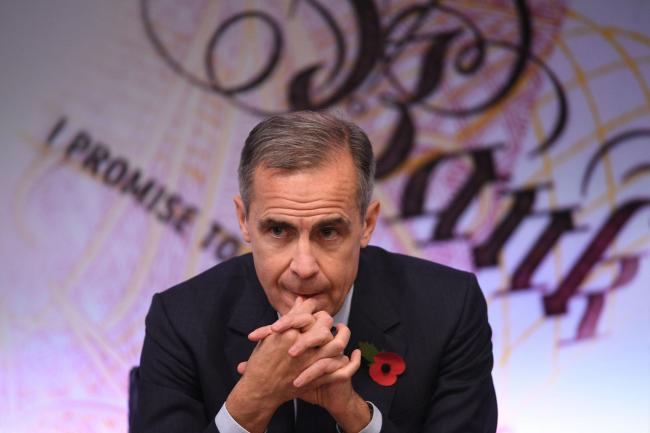 The governor of the Bank of England Mark Carney during the announcement of the Bank of England quarterly Inflation Report and interest rate decision, at the Bank of England, in the City of London. PRESS ASSOCIATION Photo. Picture date: Thursday November 2