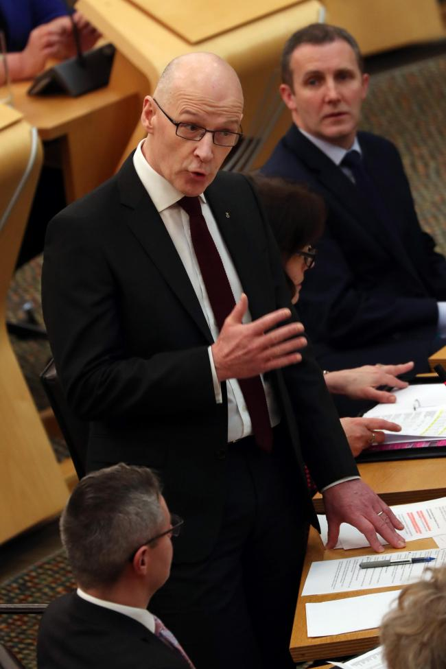 FMQs 1 SA :  Scotland Deputy First Minister John Swinney takes First Ministers Questions at the Scottish Parliament, Holyrood, Edinburgh...Picture by Stewart Attwood...All images © Stewart Attwood Photography 2019.  All other rights are reserv