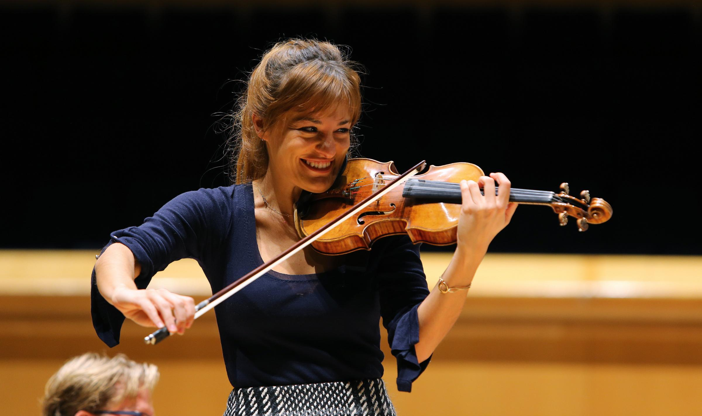 Violinist Nicola Benedetti pictured in rehearsal with the RSNO in the Royal Concert hall, Glasgow. They were rehearsing the legendary jazz musician Wynton Marsalis' Violin Concerto in D which receives it's Scottish premiere in the Caird hall, Du