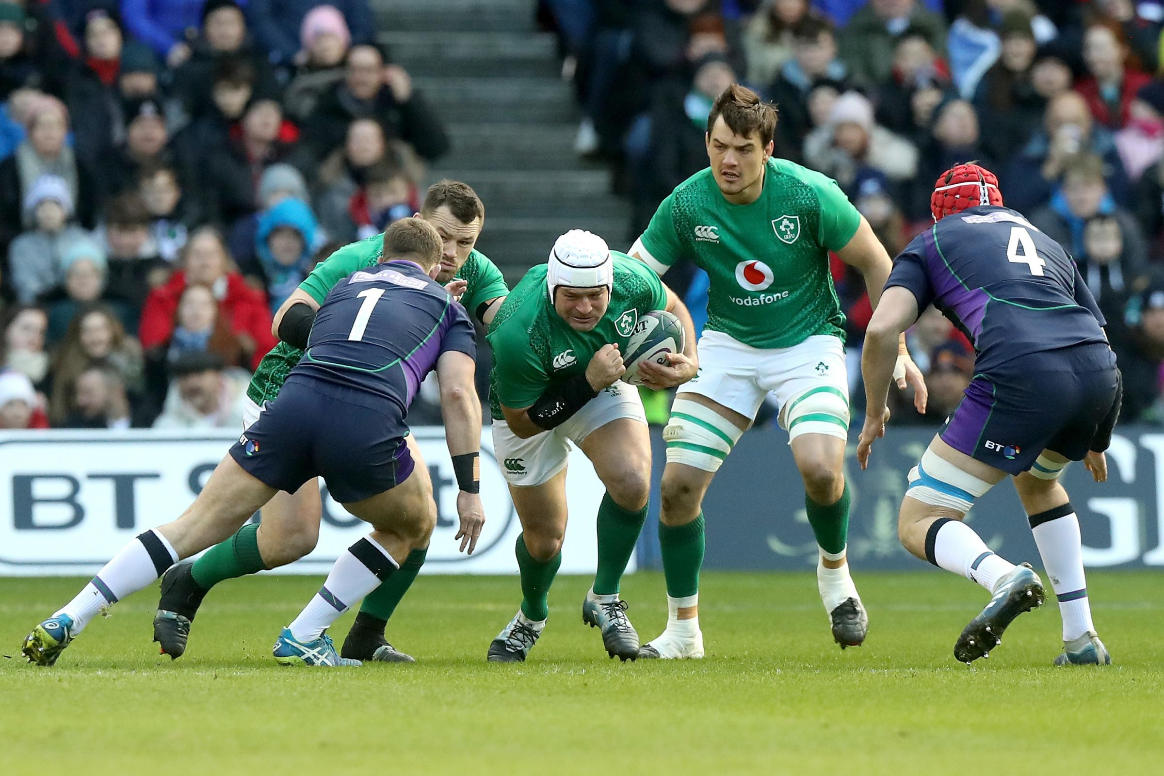 EDINBURGH, SCOTLAND - FEBRUARY 09:  Rory Best of Ireland on the charge during the Guinness Six Nations match between Scotland and Ireland at Murrayfield on February 9, 2019 in Edinburgh, Scotland.  (Photo by David Rogers/Getty Images).