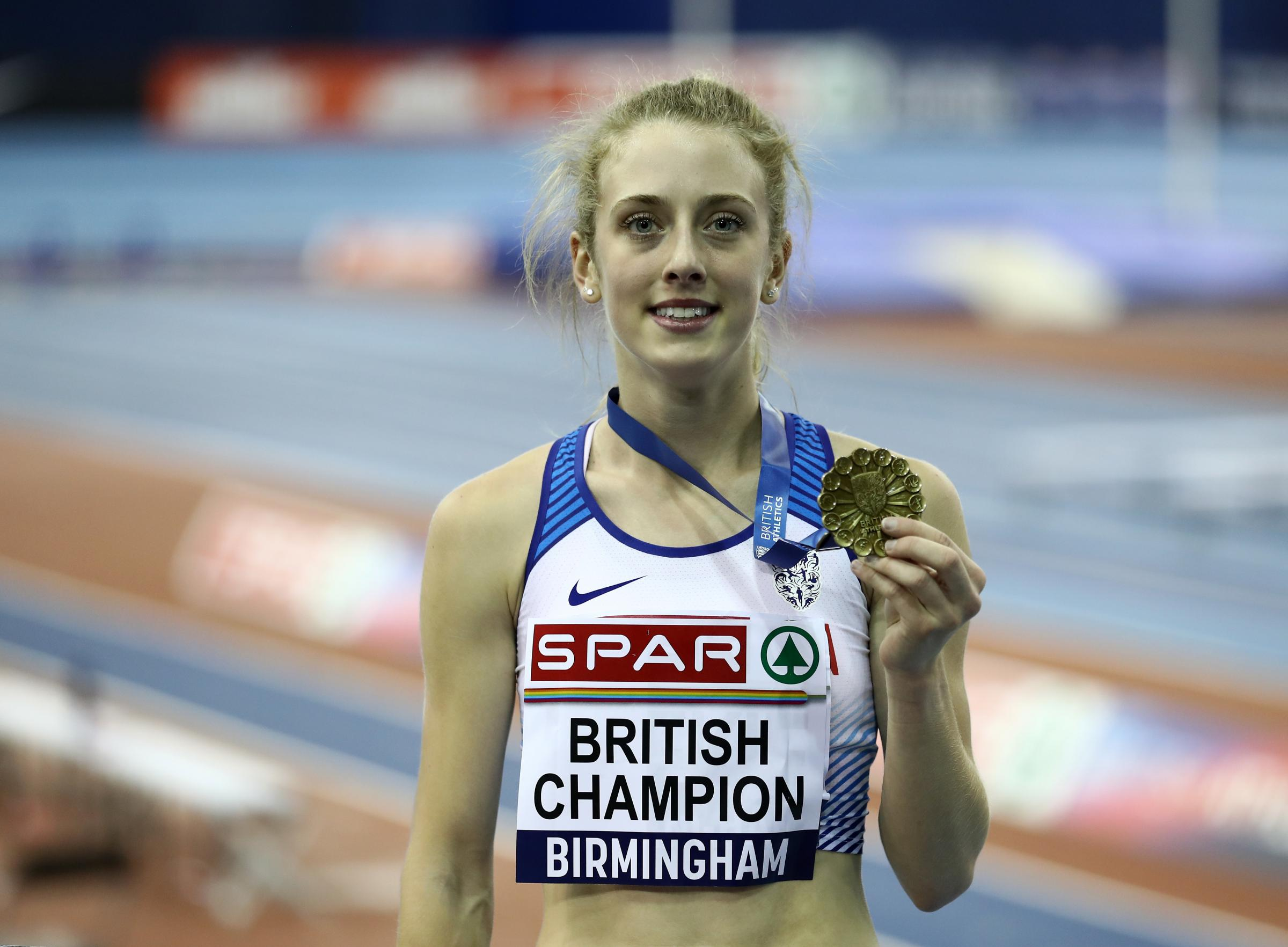 BIRMINGHAM, ENGLAND - FEBRUARY 10: Jemma Reekie poses after winning the womens 1500m final during Day Two of the SPAR British Athletics Indoor Championships at Arena Birmingham on February 10, 2019 in Birmingham, England. (Photo by Bryn Lennon/Getty Image