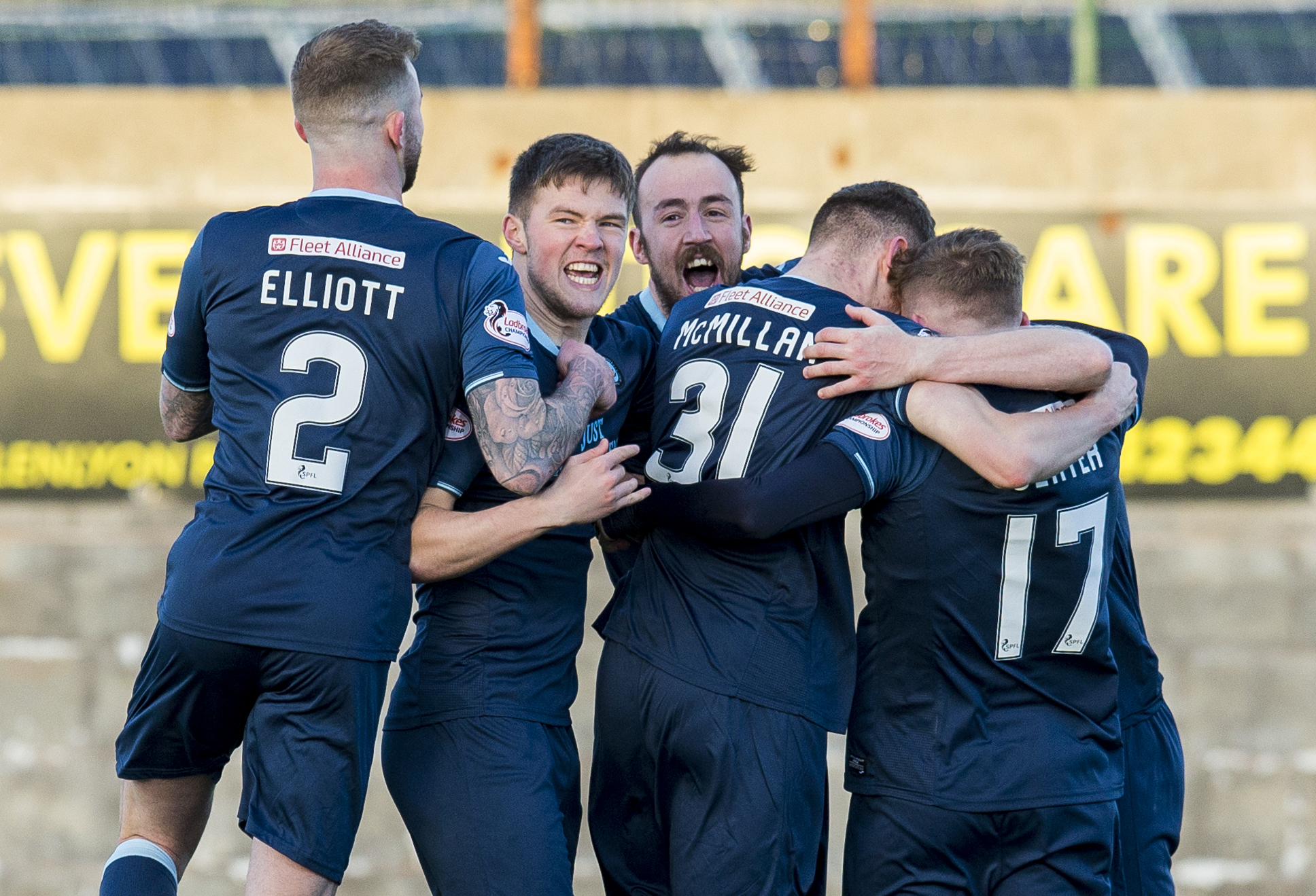 09/09/2018 SCOTTISH CUP EAST FIFE v PARTICK THISTLE (0-1) BAYVIEW STADIUM - METHIL Partick Thistle celebrate as Steven Anderson opens the scoring