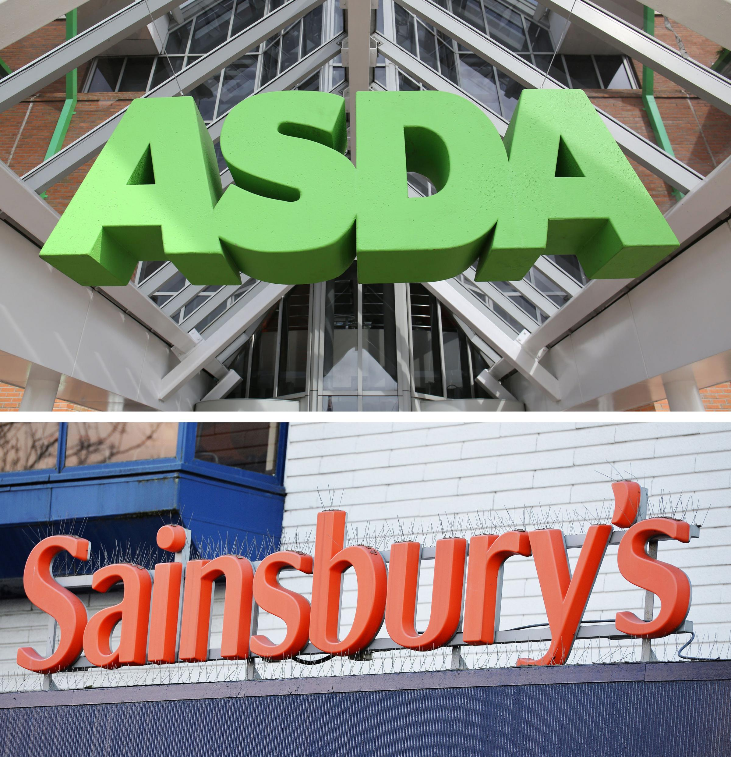 Undated file photos of an ASDA and a Sainsbury's sign, as the £12 billion merger between the duo, the UK's number two and three supermarkets, is facing further scrutiny after two parliamentary committees raised concerns over the impact on sh