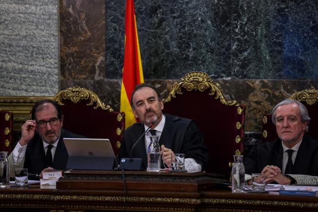 Judges during the trial of 12 Catalan separatist leaders at the Supreme Court in Madrid yesterday.