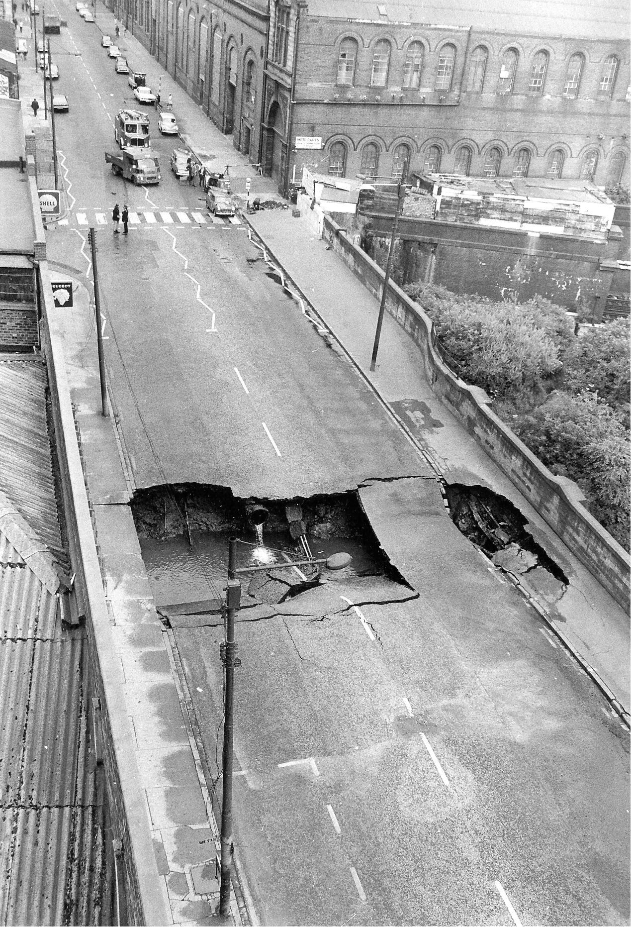 road collapse at Eglinton Toll, 1972