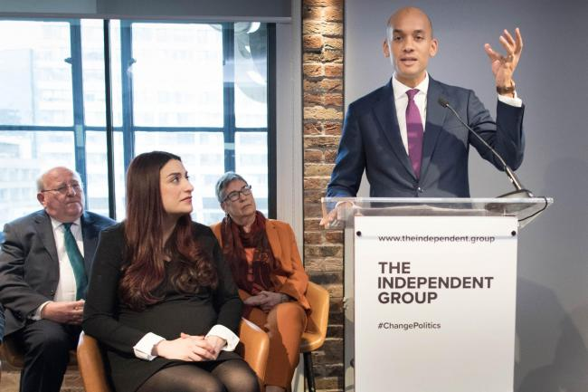 Labour MP Chuka Umunna addresses yesterday's press conference at County Hall in Westminster, London, along with a group of six other Labour MPs, Luciana Berger, Mike Gapes, Angela Smith, Chris Leslie, Ann Coffey and Gavin Shuker, who will be known as