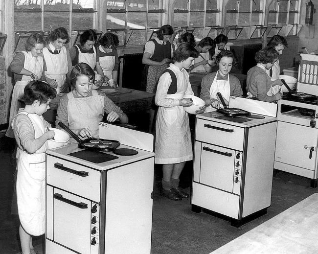 Home economics being taught in 1953. Today the subject encompasses nutrition, health, food science, consumer strategies and different forms of cooking to get the best out of popular meals.
