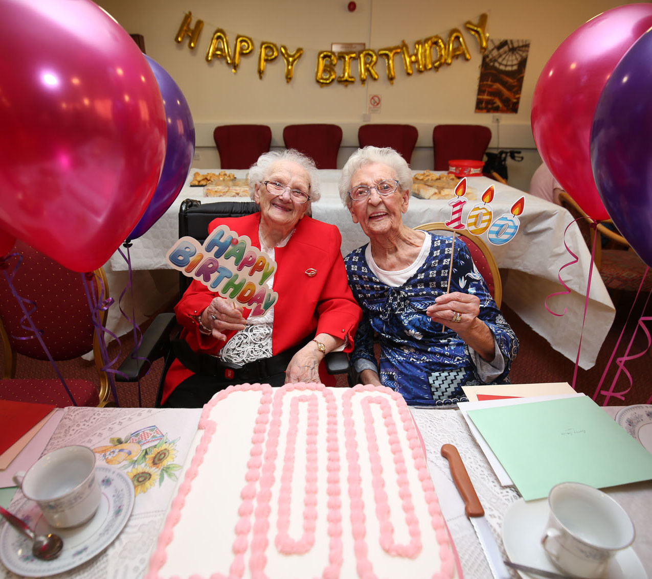 A double Birthday celelbration for Betty Morton (left) and Betty Smith (right) at Lochbrae Sheltered Housing, Rutherglen.