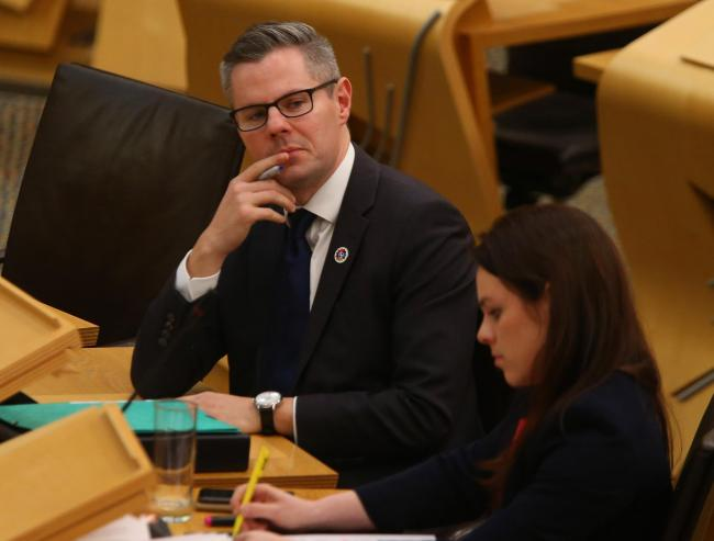 Finance Secretary Derek Mackay listens during the rate rise debate at Holyrood tuesday. STY Gordon.Pic Gordon Terris/The Herald/.19/2/19.