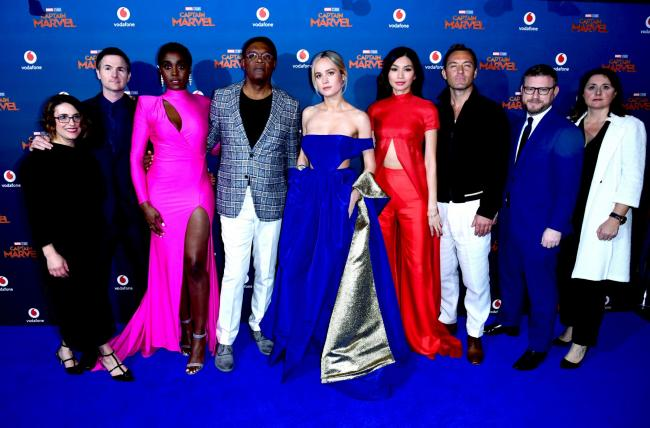 Brie Larson and members of the Captain Marvel cast at the premiere.