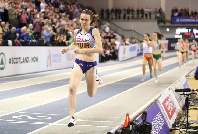 Laura Muir leaves the rest of the field in her wake en route to women's 1500m gold at the Emirates