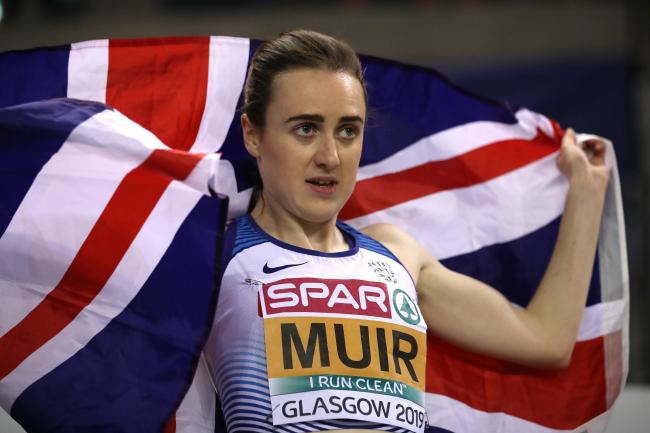 Laura Muir celebrates winning gold in the final of the women's 1500m on day three of the 2019 European Athletics Indoor Championships at Emirates Arena. Picture: Getty