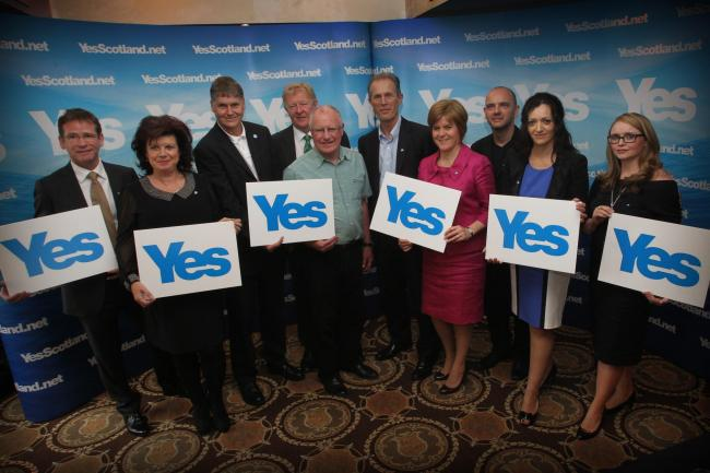 The original Yes Scotland Advisory board with Colin Fox (3rd from left) and Nicola Sturgeon