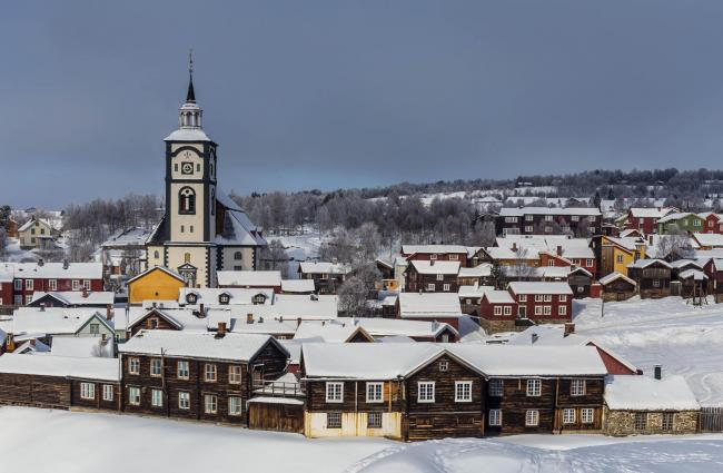 A Winter view of the Unesco World Heritage copper mining town of Roros, Norway  Pic: Alamy
