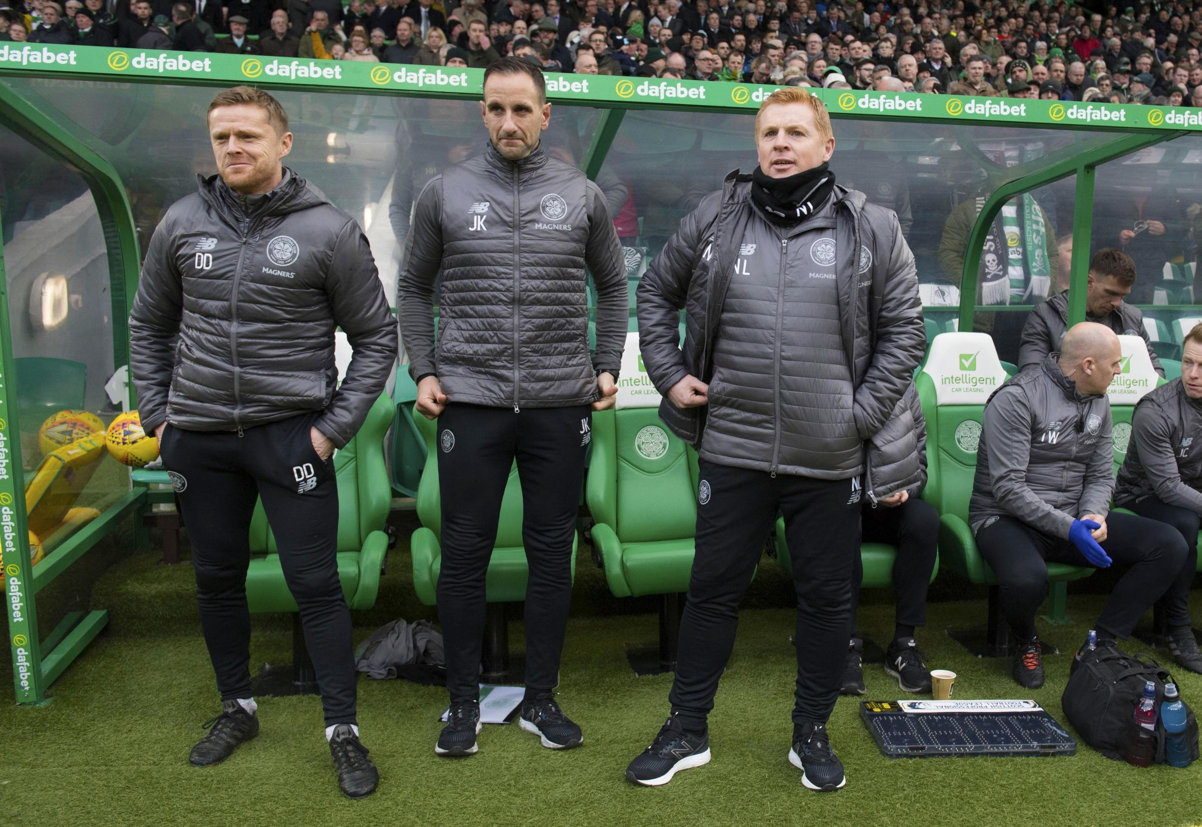 John Kennedy and Damien Duff make up the new Celtic coaching team, along with interim manager Neil Lennon.