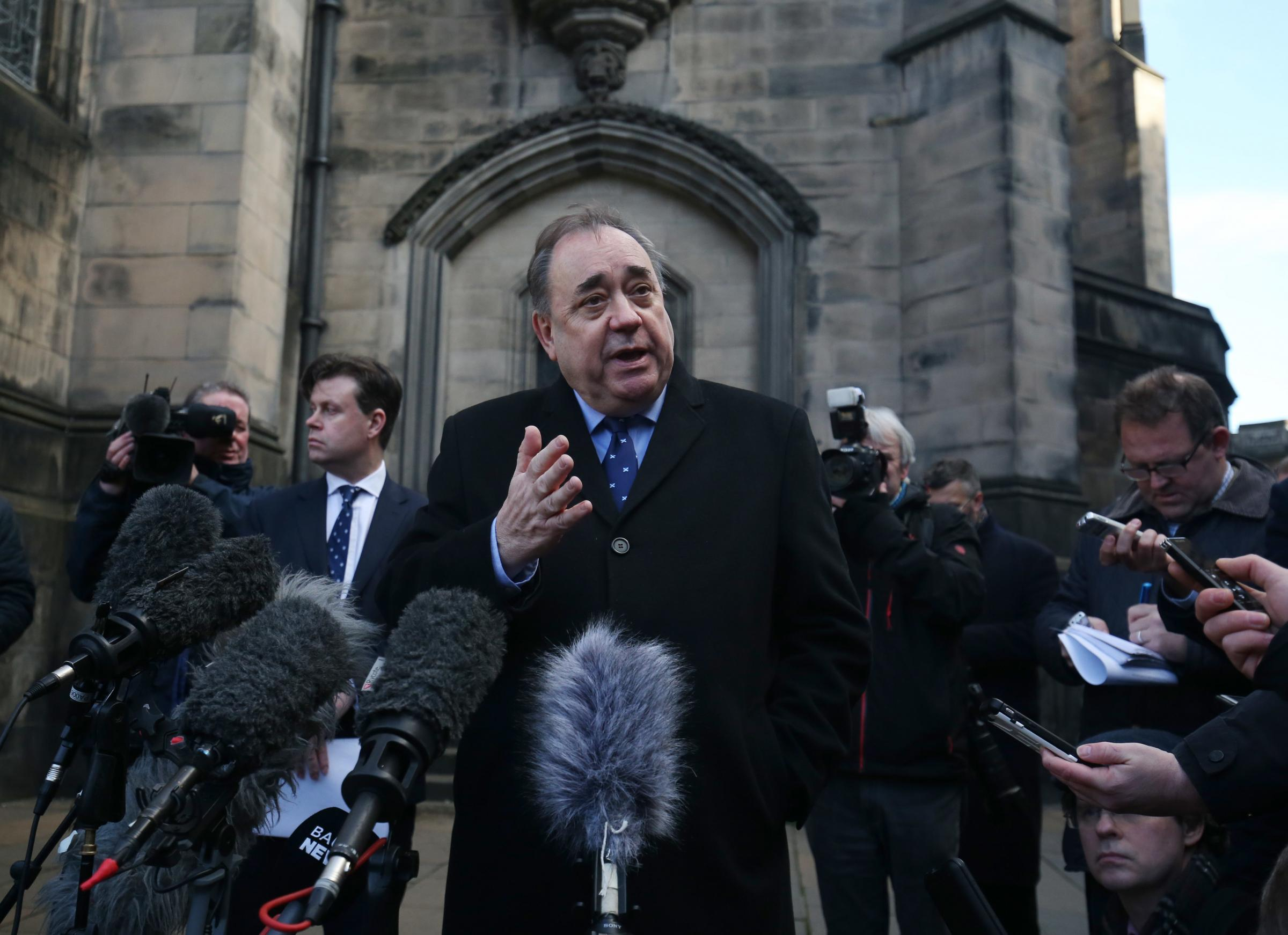 Alex Salmond speaking outside the Court of Session in Edinburgh
