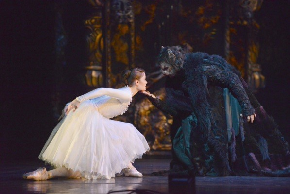 Delia Mathews as Belle and Iain Mackay as the Beast photo: Roy Smiljanic