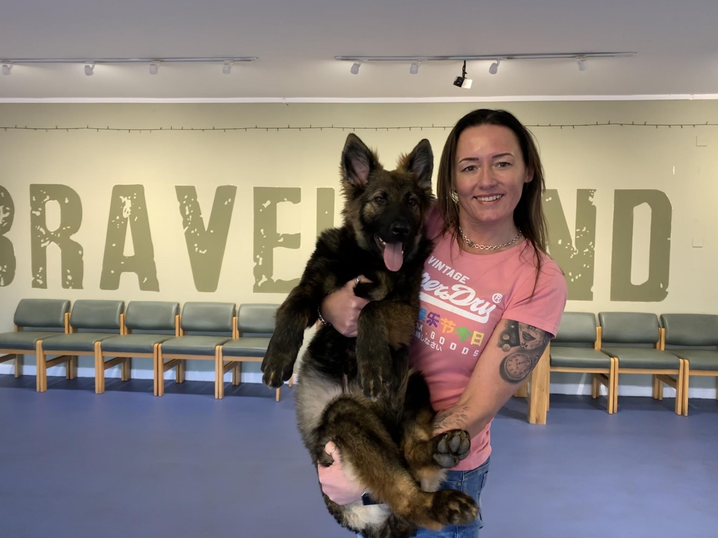 Lorraine Stewart with one of Bravehound's new recruits. Credit: UGC