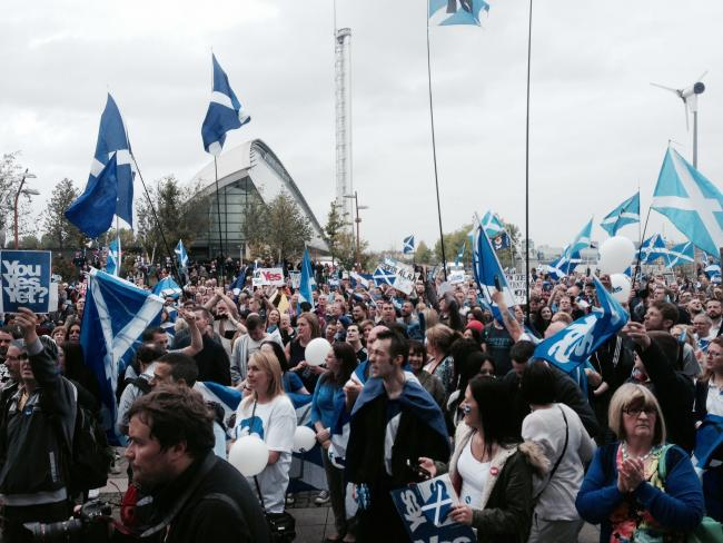 Protest by Yes supporters at BBC Scotland HQ Glasgow over alleged BBC bias