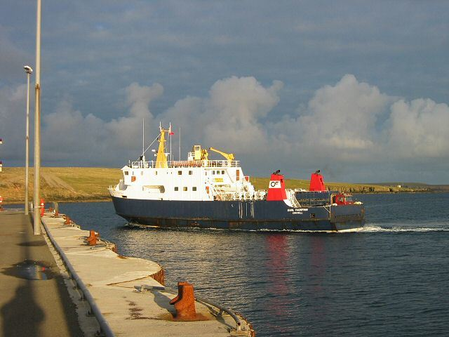 Orkney Ferries operate a fleet of inter-island ferries, pictured here stopping at Westray